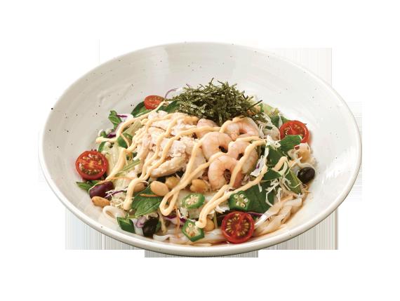 ロカボ小海老と蒸し鶏のサラダ麺